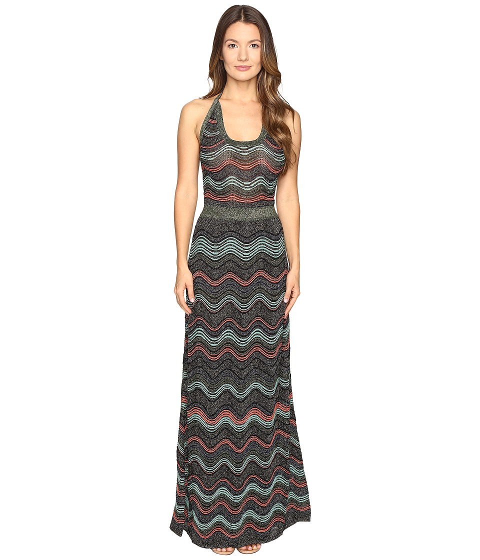 M Missoni Lurex Ripple Halter Neck Maxi Dress (Black) Women