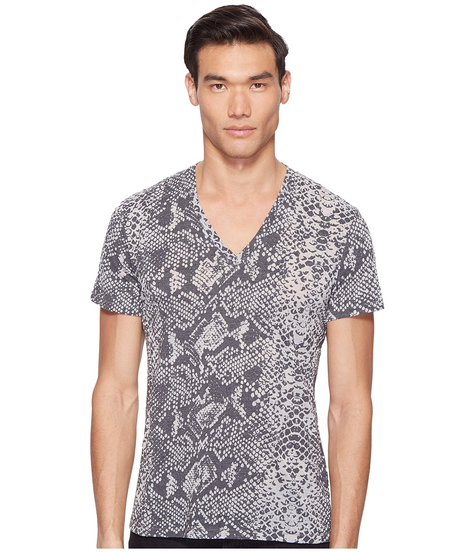 Just Cavalli - Snakeskin Print V-Neck T-Shirt (Black) Men's T Shirt