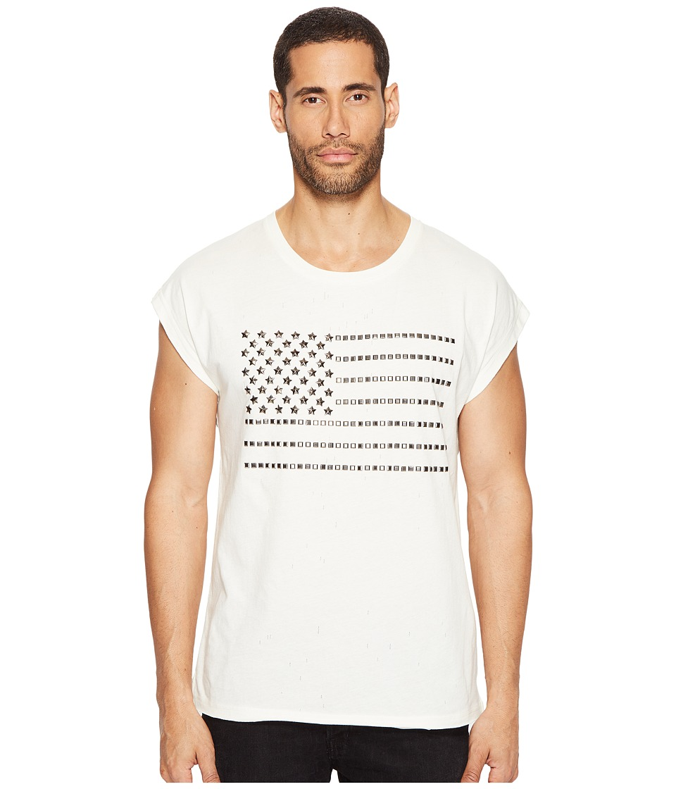Just Cavalli - Studded Flag Sleeveless T-Shirt (White Milk) Men's T Shirt