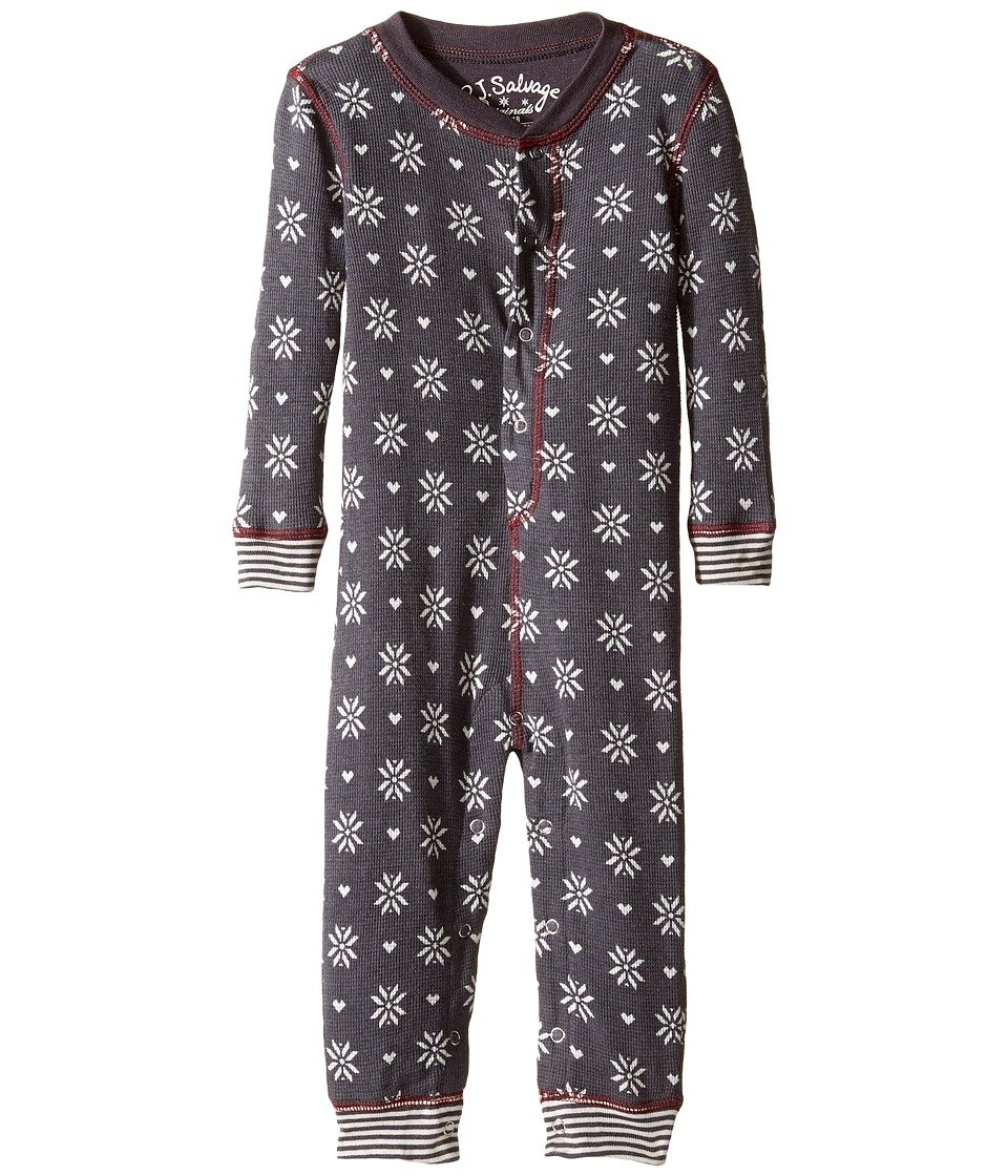 P.J. Salvage Kids - Snow Flake Romper (Infant) (Charcoal) Kid's Jumpsuit & Rompers One Piece