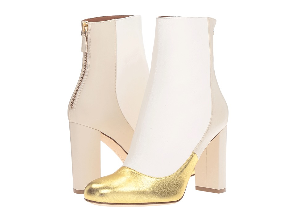 M Missoni - Leather Ankle Boots with Back Zipper with Gold Toe Detail (Gold) Women's Zip Boots