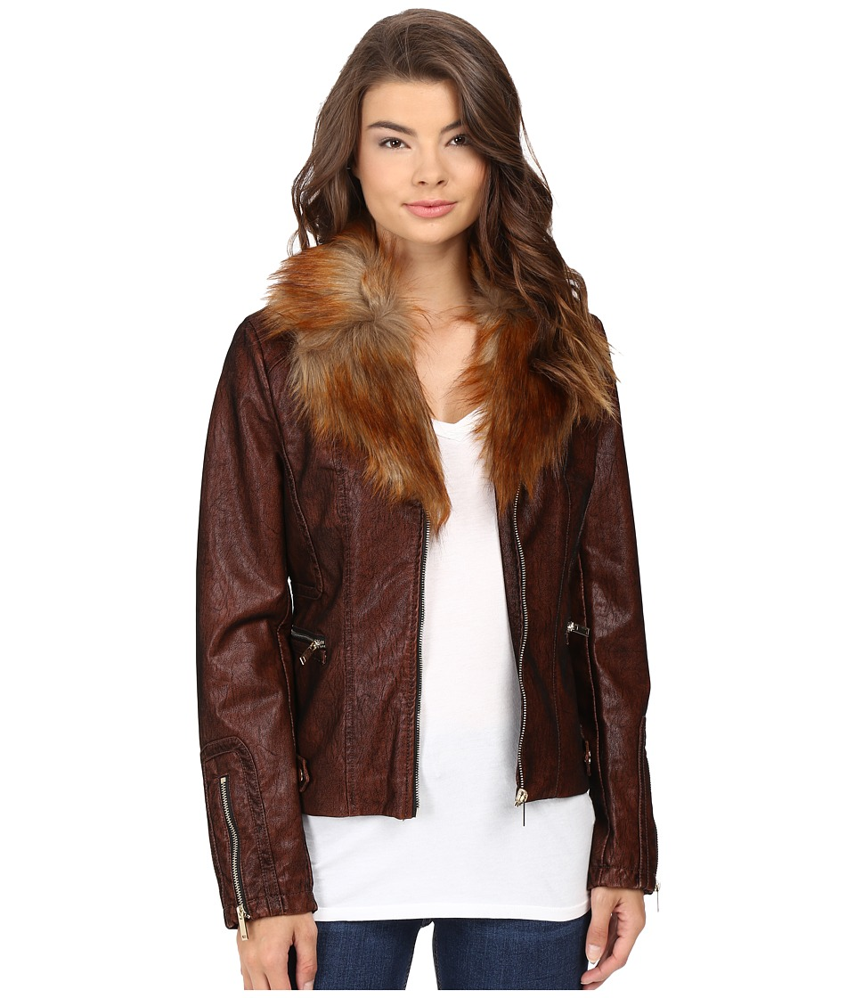 Scully - Elise Faux Leather and Fur Jacket (Copper) Women's Coat