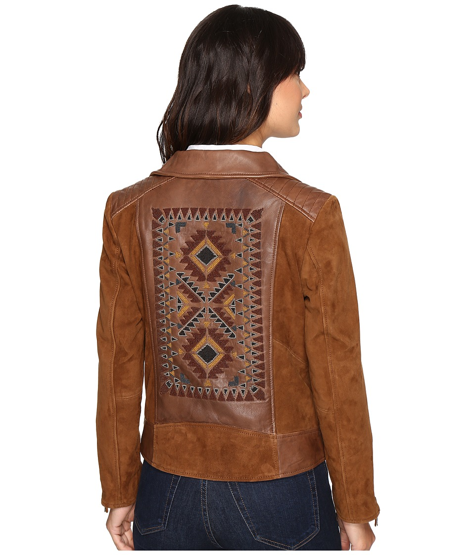 Scully - Rhina Beaded Leather Jacket (Tan) Women's Coat