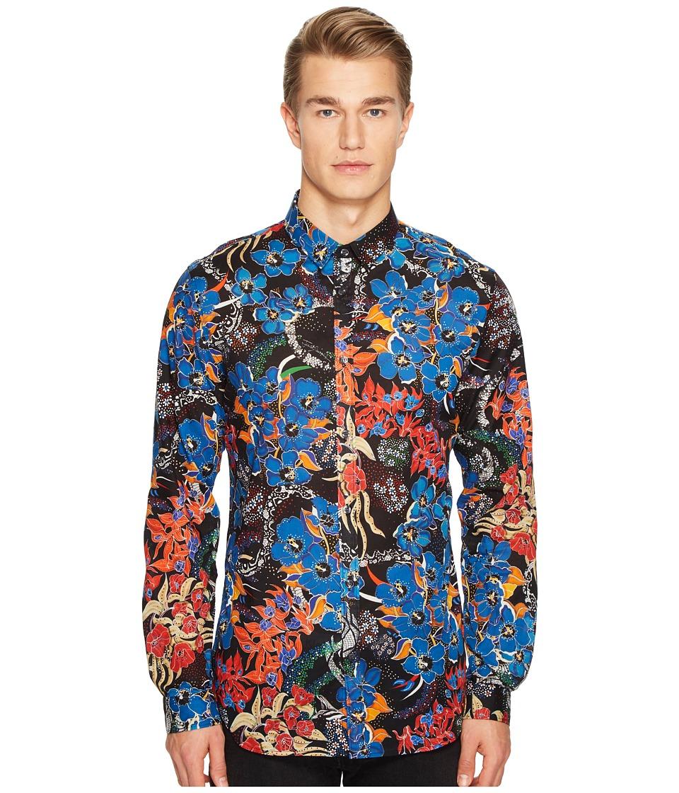 Just Cavalli - Floral Print Shirt (Black) Men's Clothing