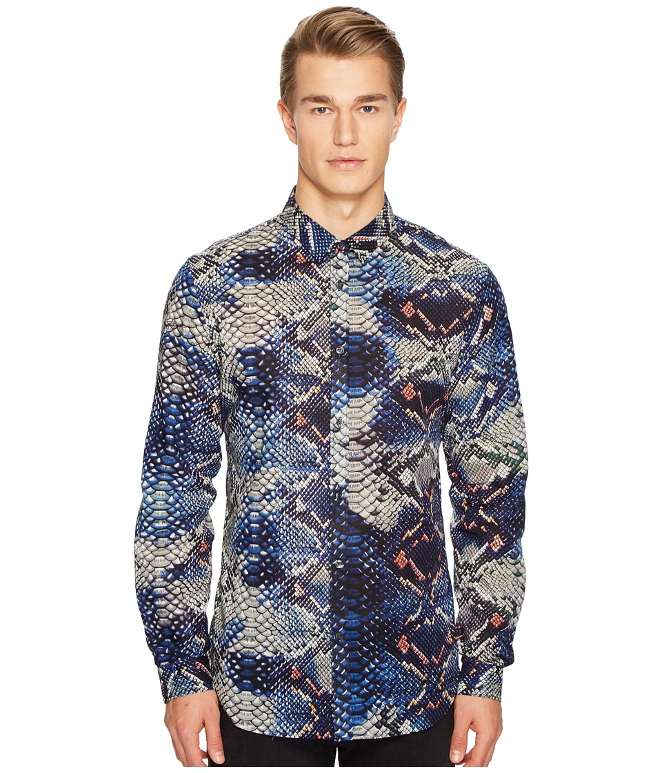 Just Cavalli - Python Tie-Dye Print Shirt (Blue) Men's Clothing