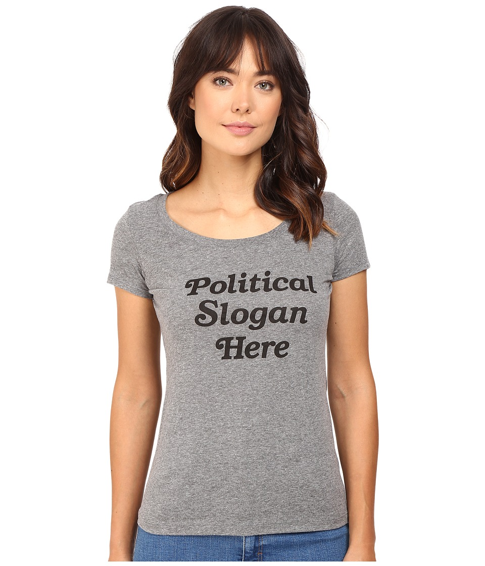 Rachel Antonoff - Political Slogan Here Scoop Neck Tee (Heather Grey) Women's T Shirt