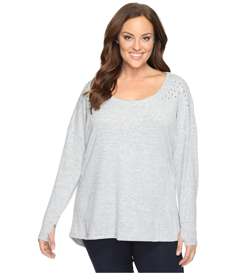 Marika Curves Plus Size Alexis Heather Studded Long Sleeve (Heather Grey) Women
