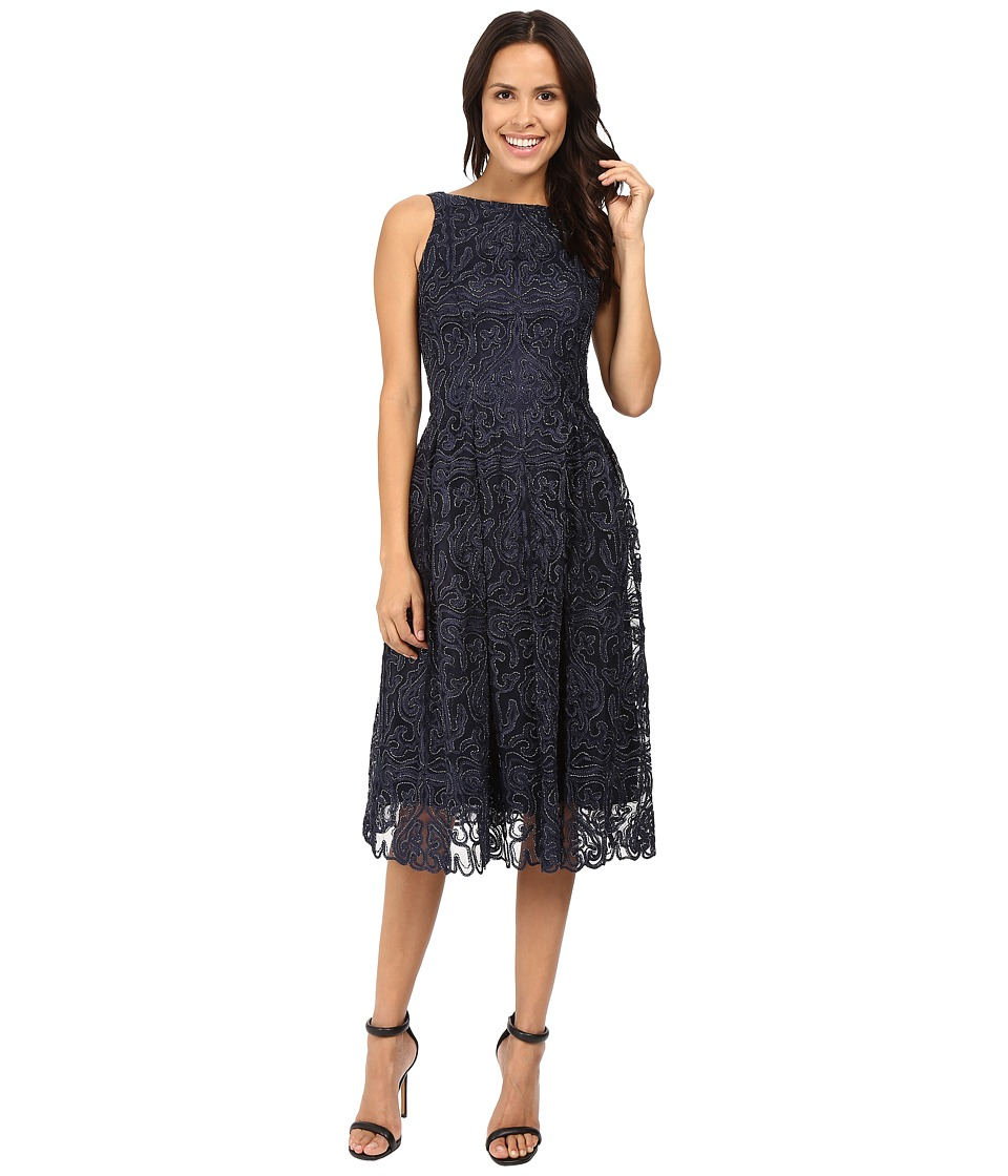 Tahari by ASL - Lace Mid-Length with Metallic Thread (Navy/Silver) Women's Dress