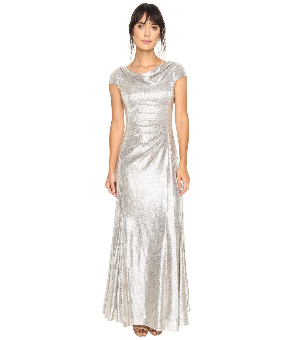 Tahari by ASL - Foil Knit Cowl Neck (Silver Powder) Women's Dress