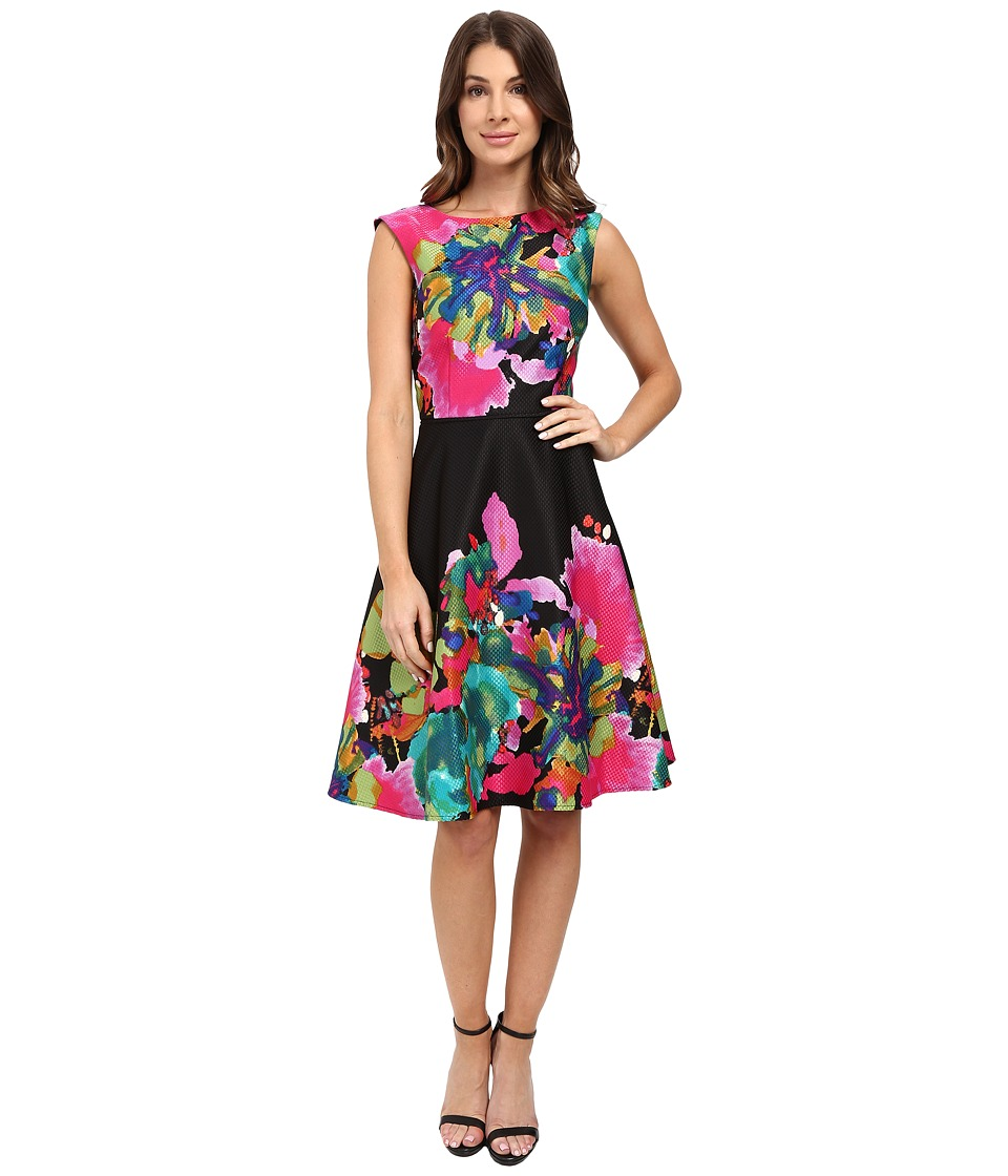 Tahari by ASL - Printed Jacquard Fit and Flare (Black/Flamingo/Lime) Women's Dress