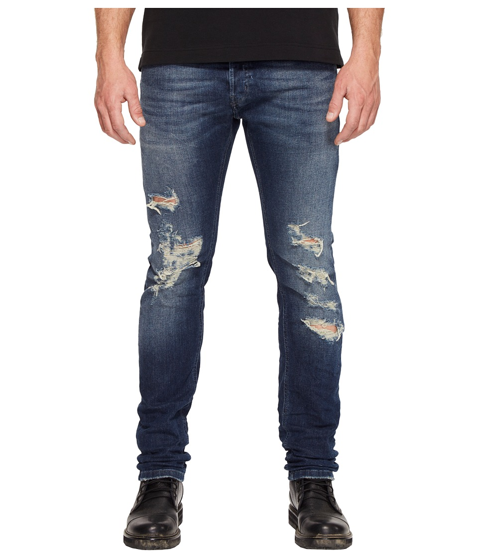Just Cavalli - Super Slim Fit Destroyed Jeans (Blue) Men's Jeans