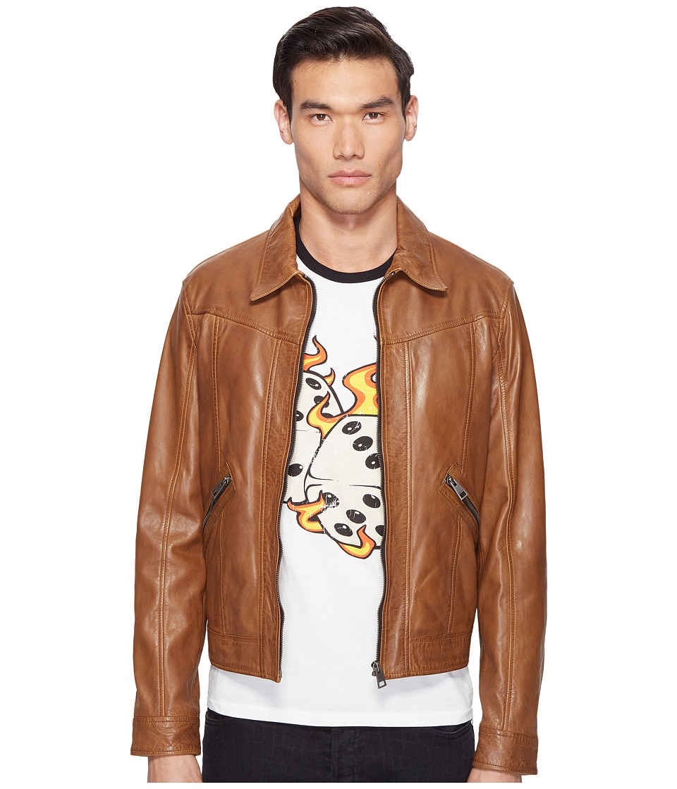 Just Cavalli - Leather Jacket (Cognac) Men's Coat