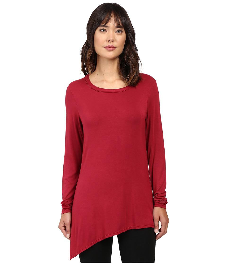 Trina Turk - Long Sleeve Drape Shirt (Wine) Women's Clothing