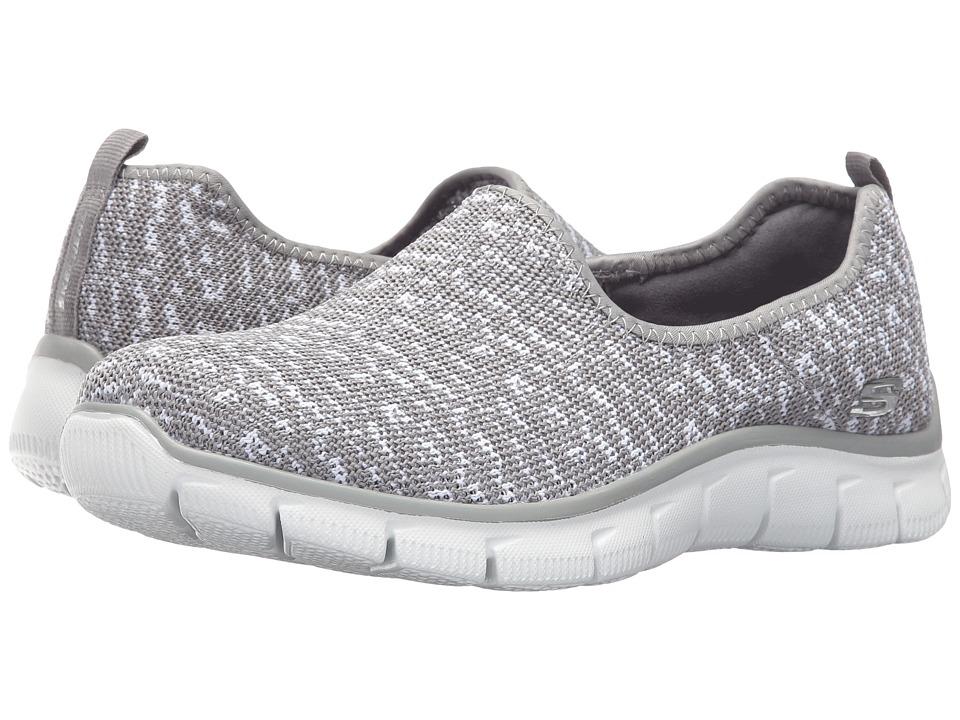 SKECHERS - Empire - Sweet Scene (Gray/White) Women's Slip on Shoes