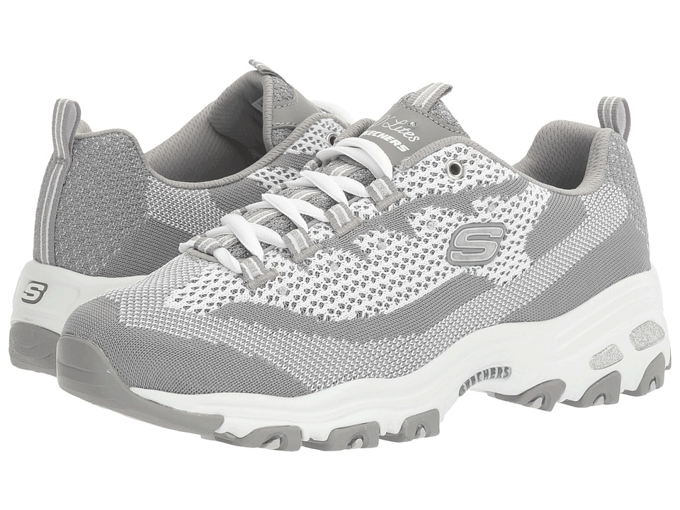 SKECHERS - D'Lites - Reinvention (Gray/White) Women's Lace up casual Shoes