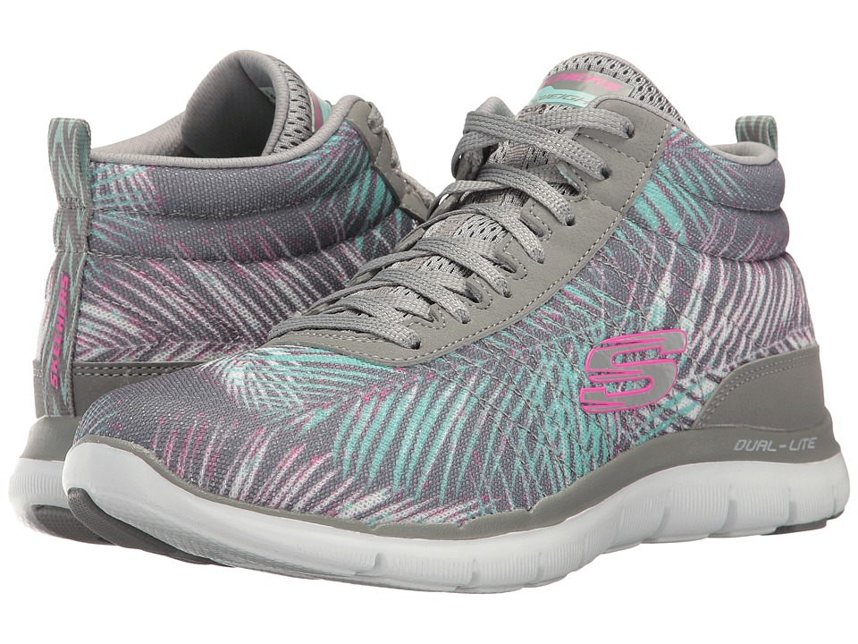 SKECHERS - Flex Appeal 2.0 (Gray/Mint) Women's Lace up casual Shoes