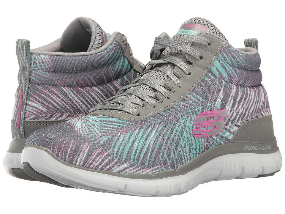 SKECHERS - Flex Appeal 2.0 (Gray/Mint) Women's Lace up casual Shoes