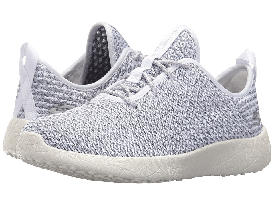 SKECHERS - Burst - City Scene (White/Gray) Women's Lace up casual Shoes