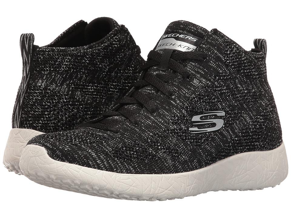 SKECHERS - Burst (Black/Silver) Women's Lace up casual Shoes