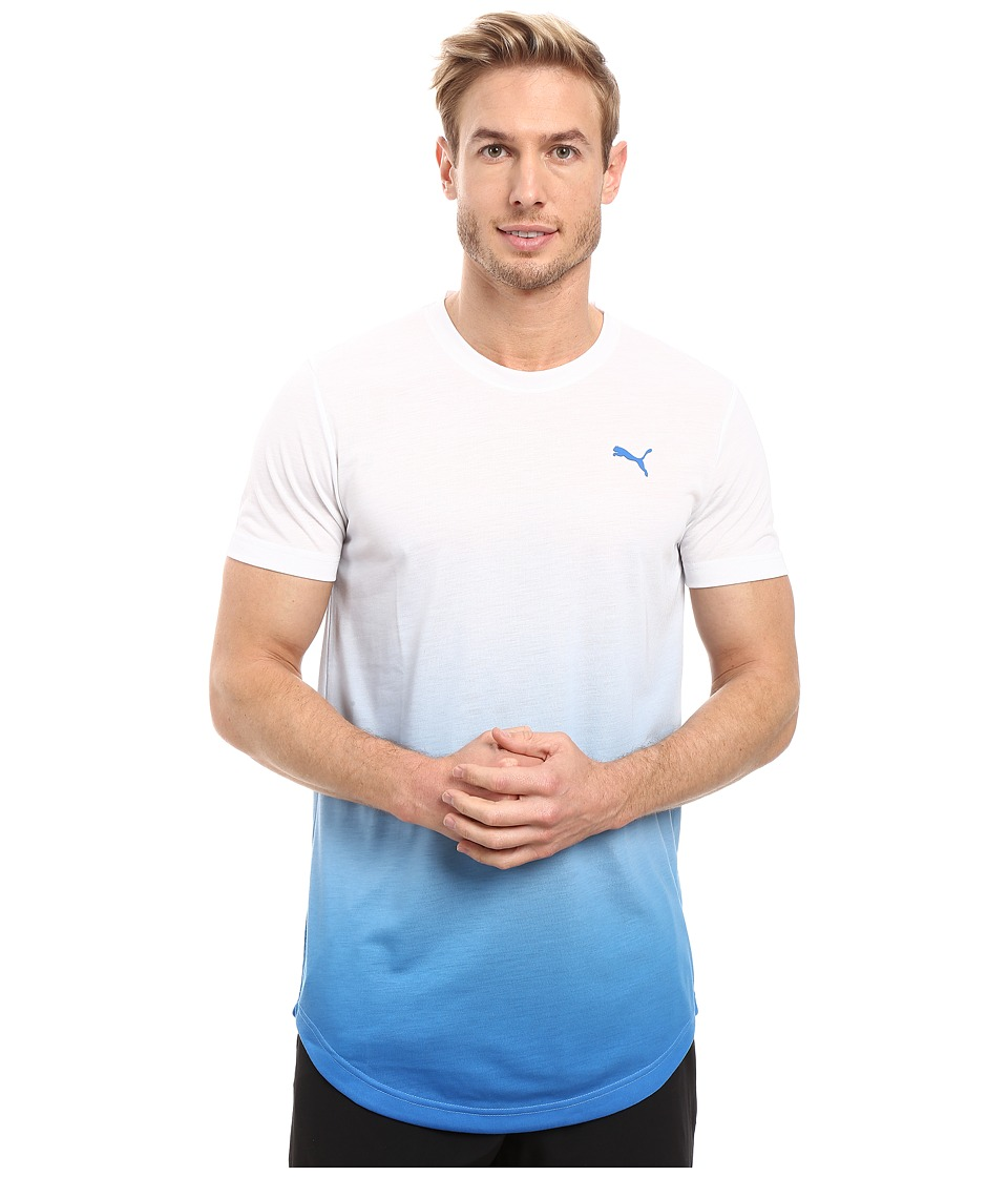 PUMA - Fluo Fade Graphic Tee (Puma White/Electric Blue Lemonade) Men's T Shirt