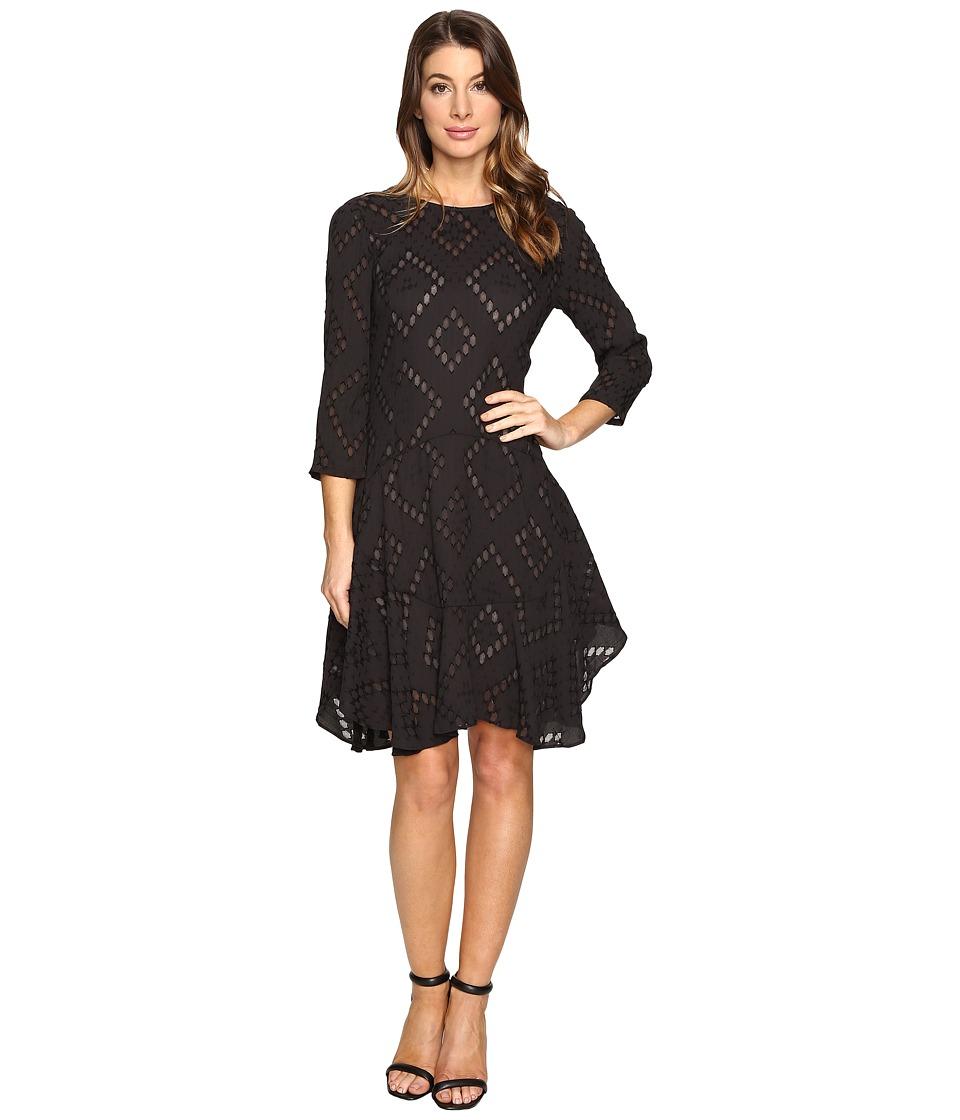 Donna Morgan 3/4 Sleeve Flounce Dress (Marine) Women