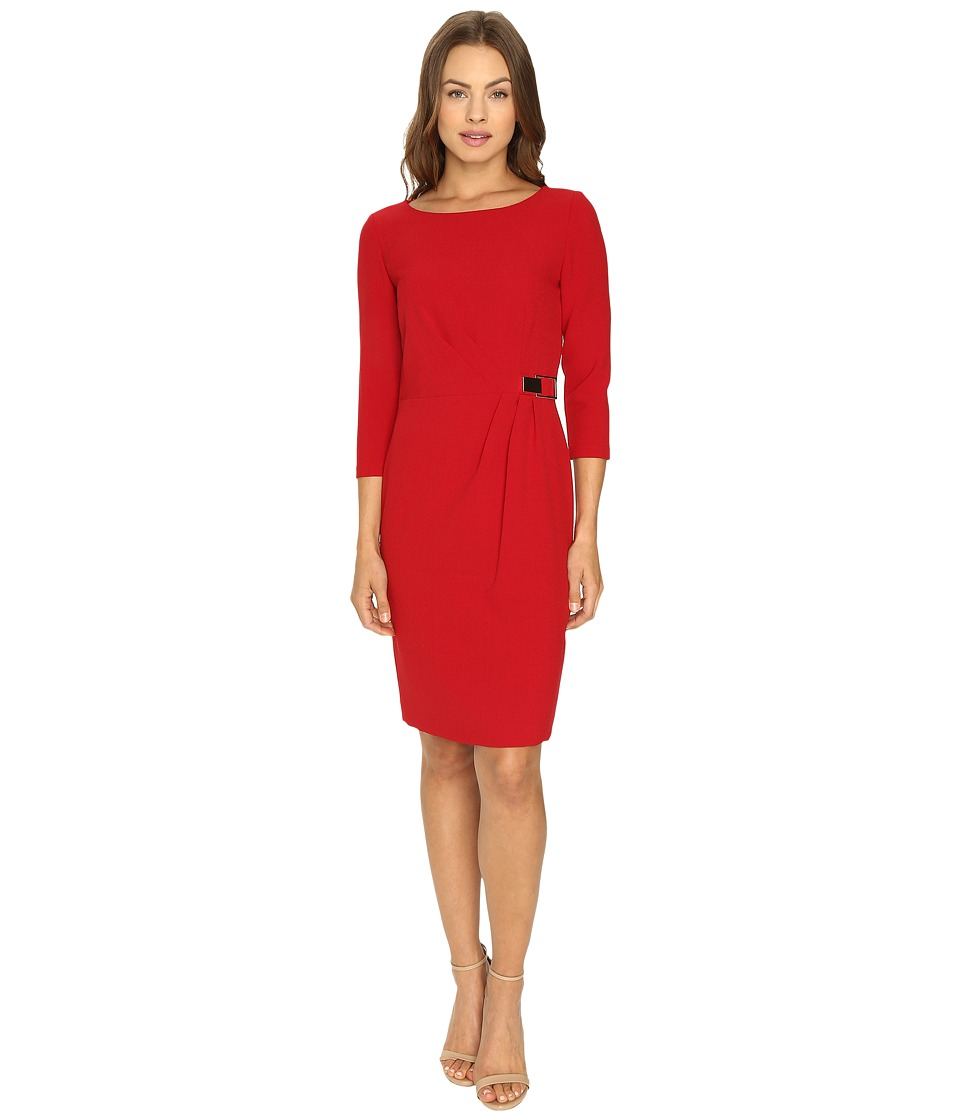 Tahari by ASL - 3/4 Sleeve Crepe Sheath w/ Side Ruche (Lipstick) Women's Dress