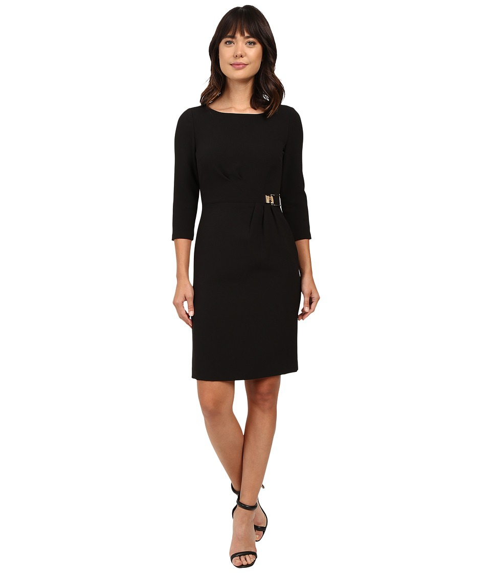 Tahari by ASL - 3/4 Sleeve Crepe Sheath w/ Side Ruche (Black) Women's Dress