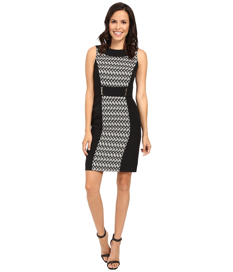 Tahari by ASL - Ikat Print Paneled Sheath w/ Hardware (Taupe/Black/Beige) Women's Dress