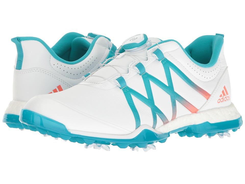 adidas Golf adiPower Boost Boa (Ftwr White/Energy Blue/Easy Coral) Women