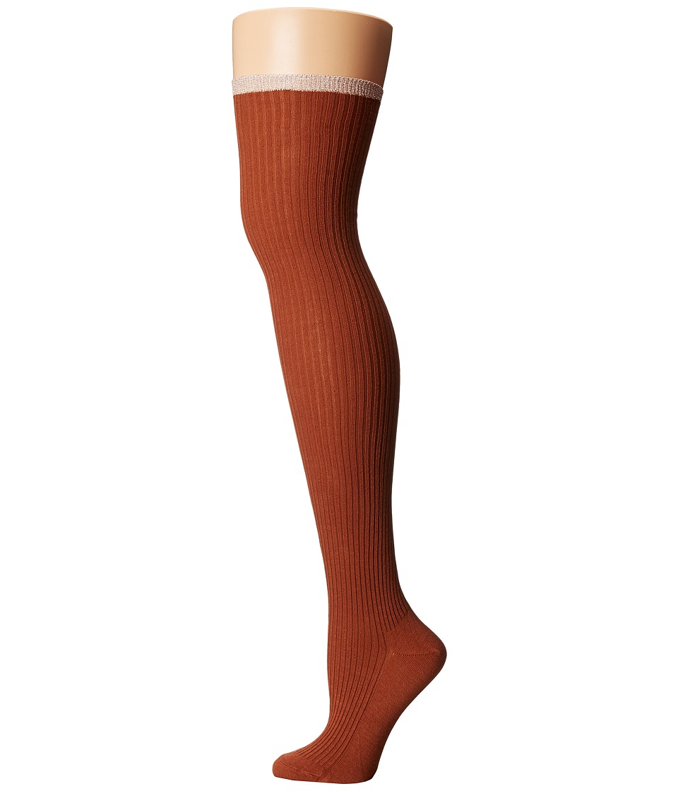 Free People - Sable Lurex Over-The-Knee Socks (Terracotta) Women's Thigh High Socks Shoes