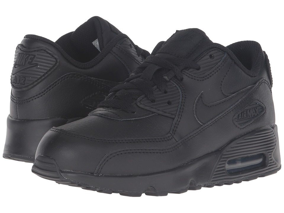 Nike Kids Air Max 90 Leather (Little Kid) (Black/Black) Boys Shoes