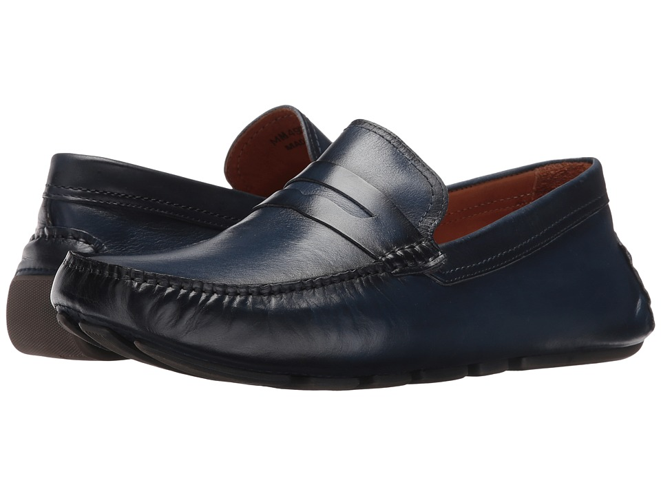 Massimo Matteo - Burnished Penny Driver (Azul) Men's Slip-on Dress Shoes