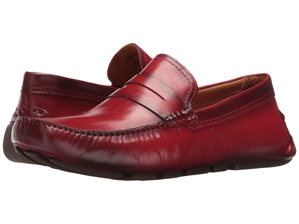 Massimo Matteo - Burnished Penny Driver (Red) Men's Slip-on Dress Shoes