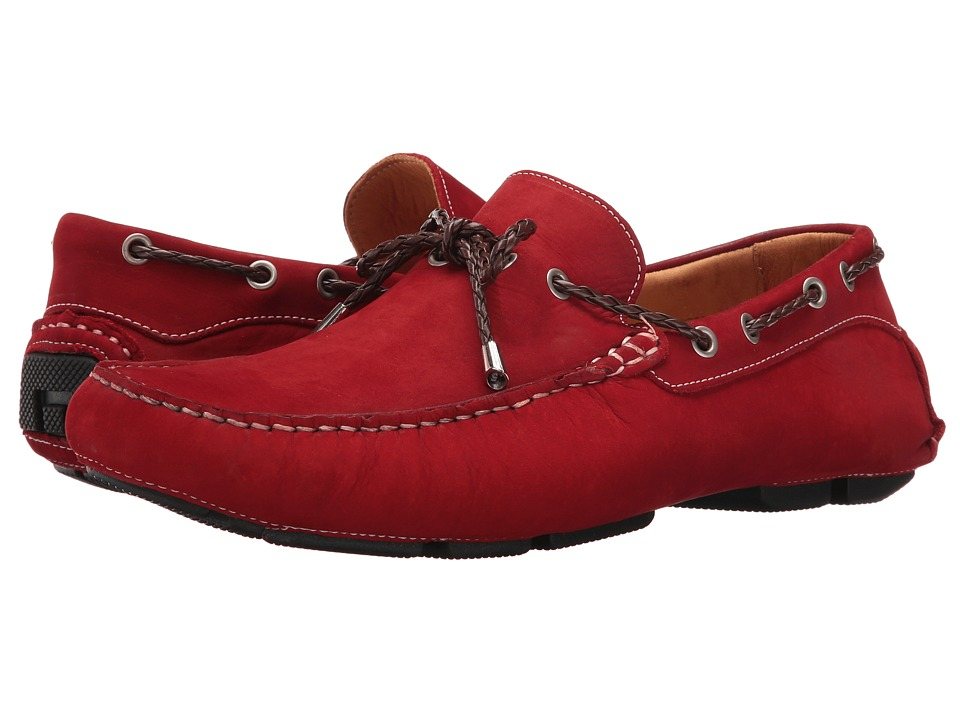 Massimo Matteo - Nubuck Lace Driver (Vermelho) Men's Slip on Shoes