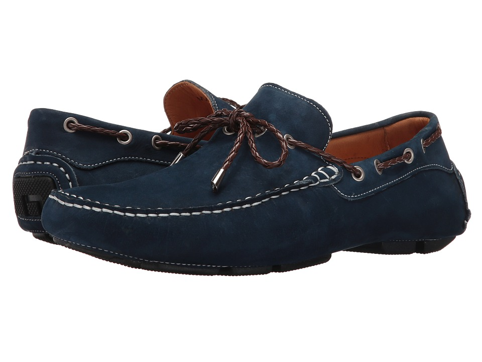 Massimo Matteo - Nubuck Lace Driver (Midnight Blue) Men's Slip on Shoes