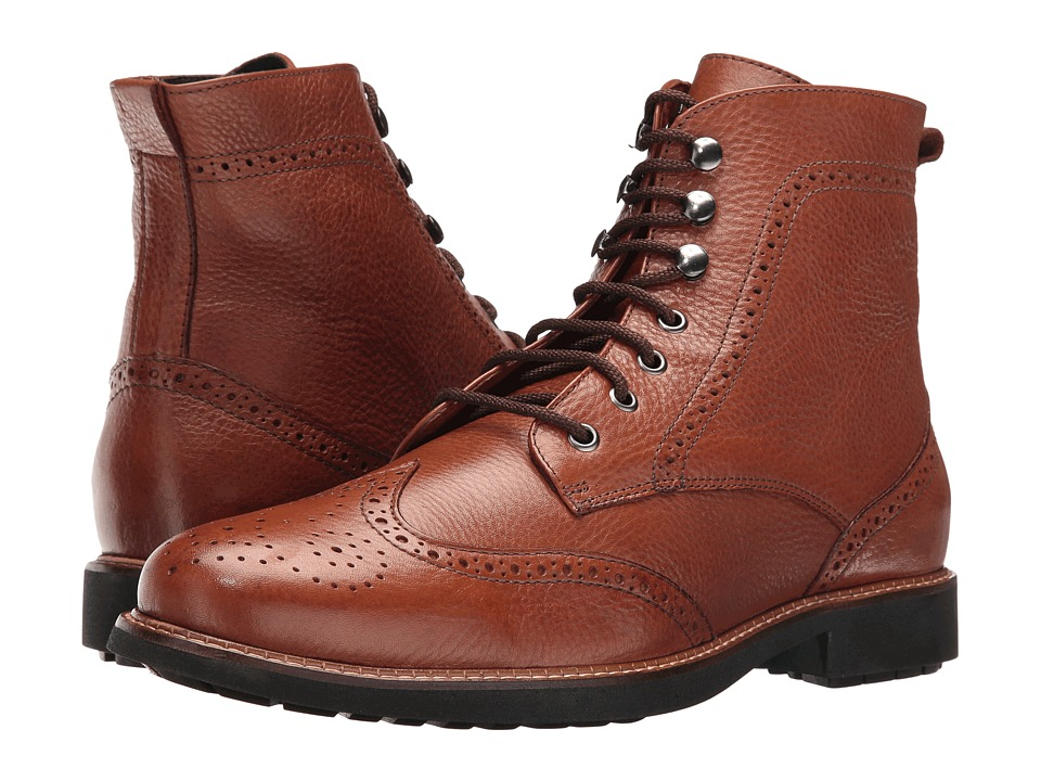 Massimo Matteo - Perf Wing Boot (Cognac) Men's Lace-up Boots