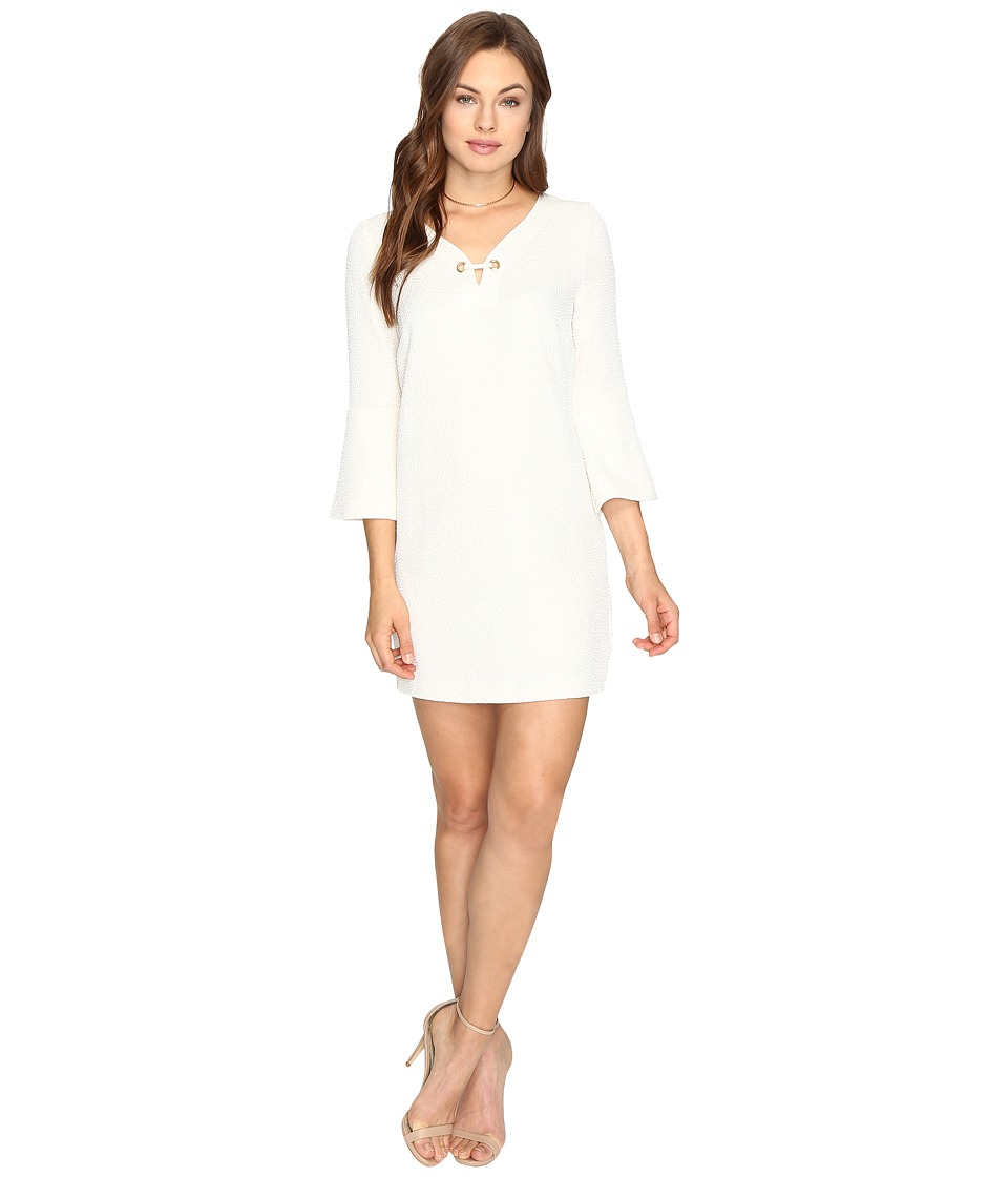 kensie Textured Dot Dress KSDK7797 (Bone) Women