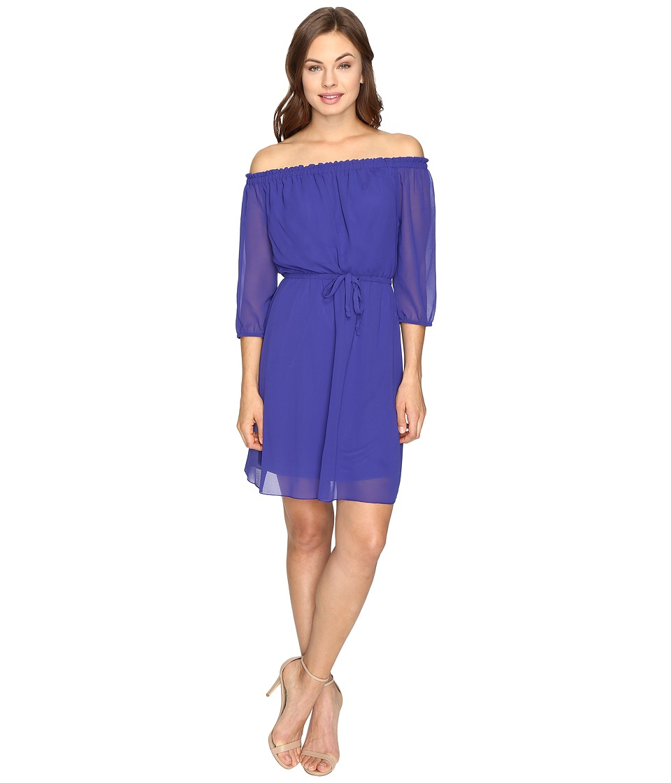 kensie Crepe Chiffon Dress KSDK7168 (Electric Purple) Women
