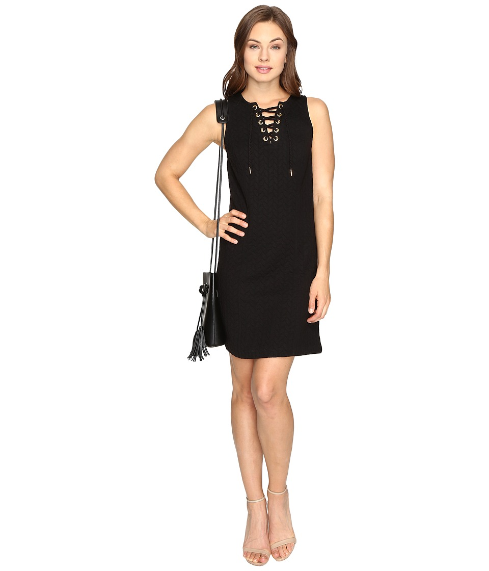 kensie Quilted Braids Dress KSDK7483 (Black) Women