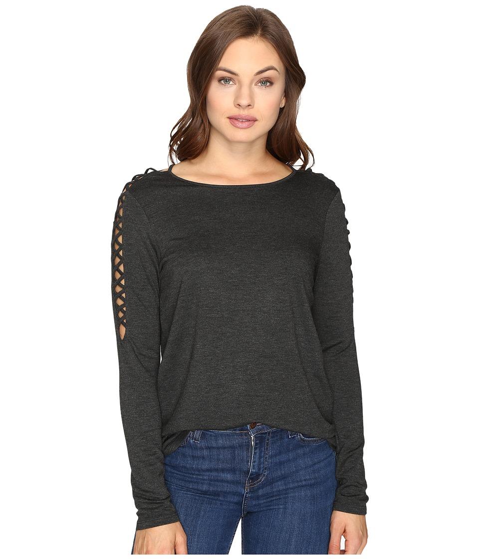 kensie - Drapey French Terry Sweatshirt KSDK3421 (Heather Charcoal) Women's Sweatshirt