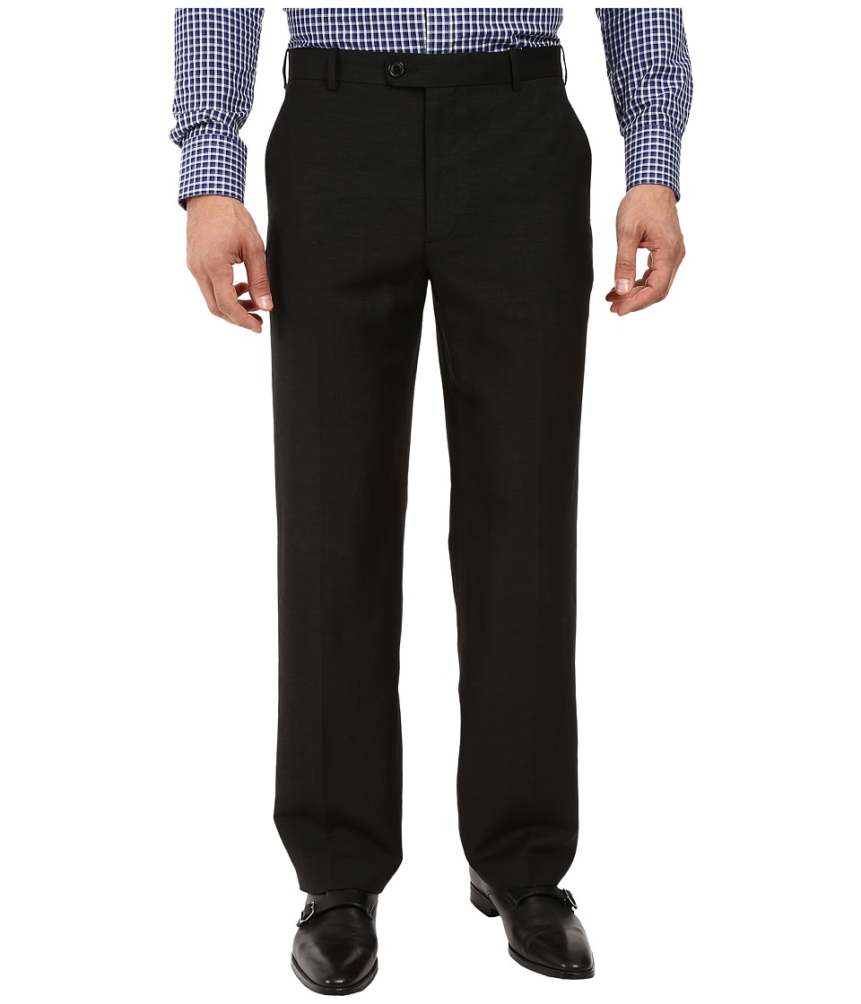 Perry Ellis Portfolio - Classic Fit Linen Portfolio Pant (Black) Men's Dress Pants