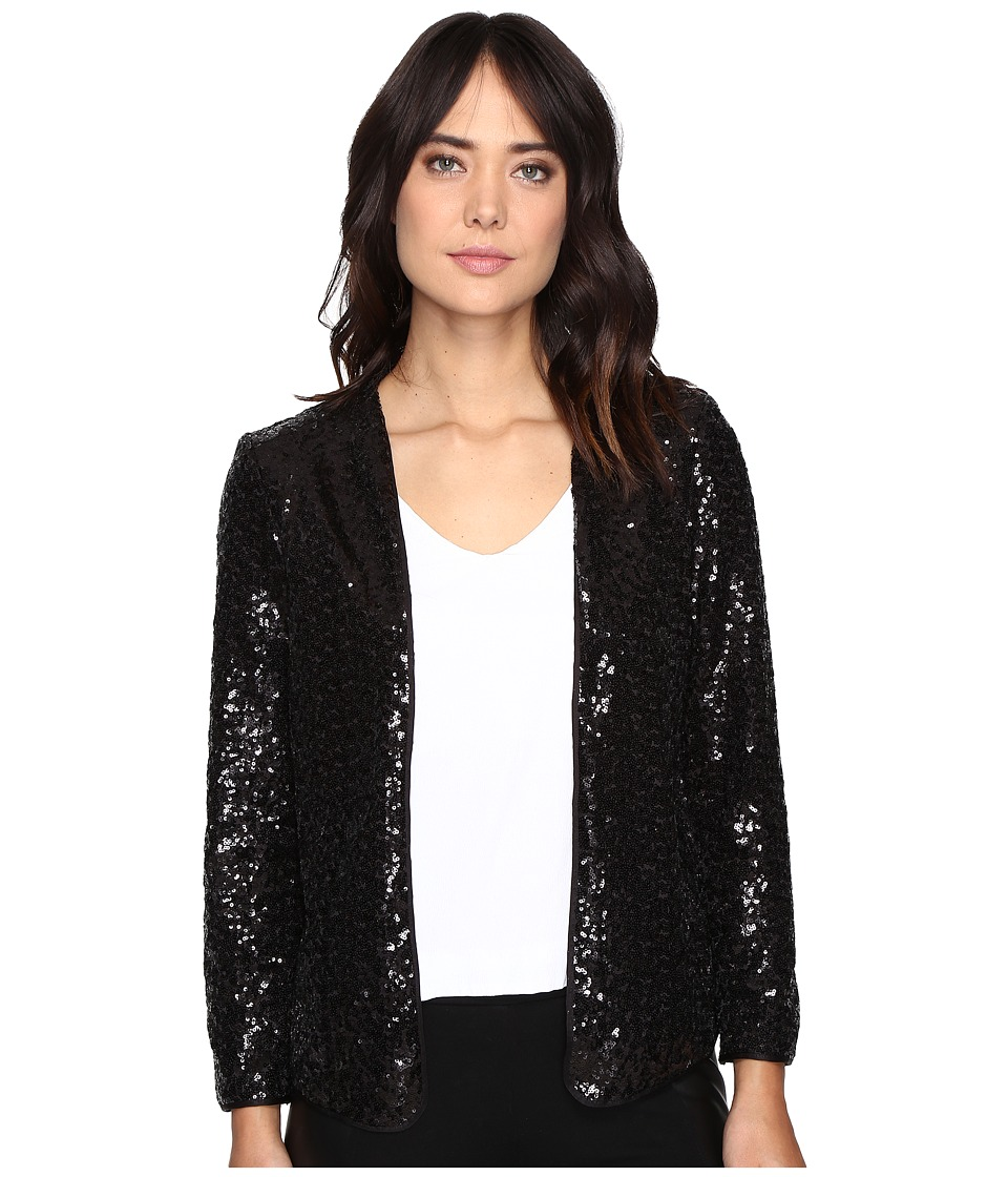 kensie - Dense Sequin Jersey Jacket KSDK2198 (Black) Women's Coat