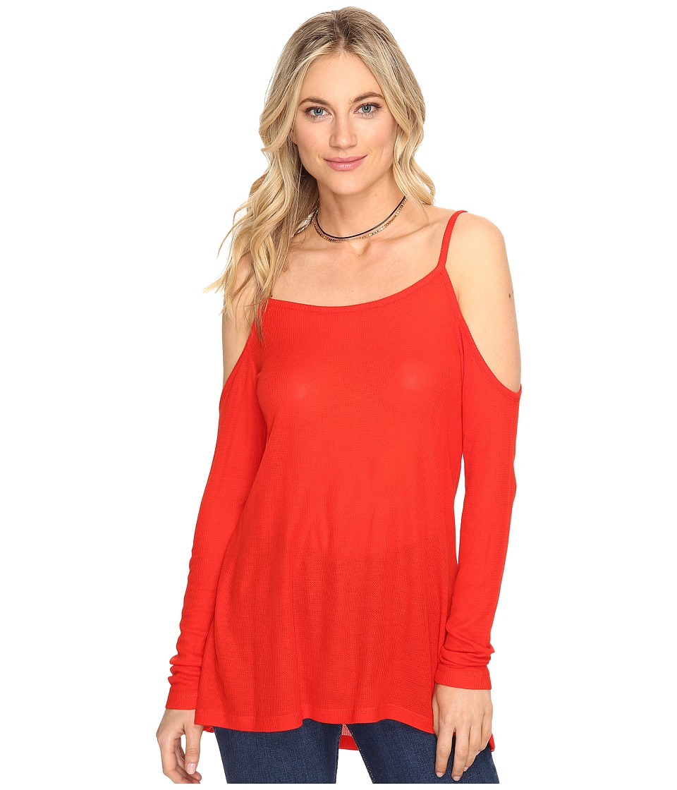 kensie - Waffle Knit Cold Shoulder Top KS1K3394 (Fire) Women's Clothing