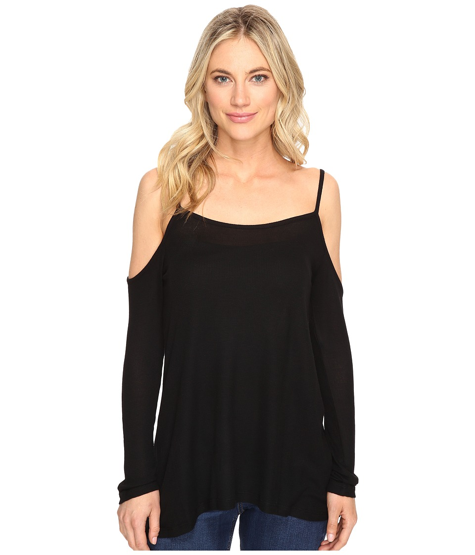 kensie - Waffle Knit Cold Shoulder Top KS1K3394 (Black) Women's Clothing