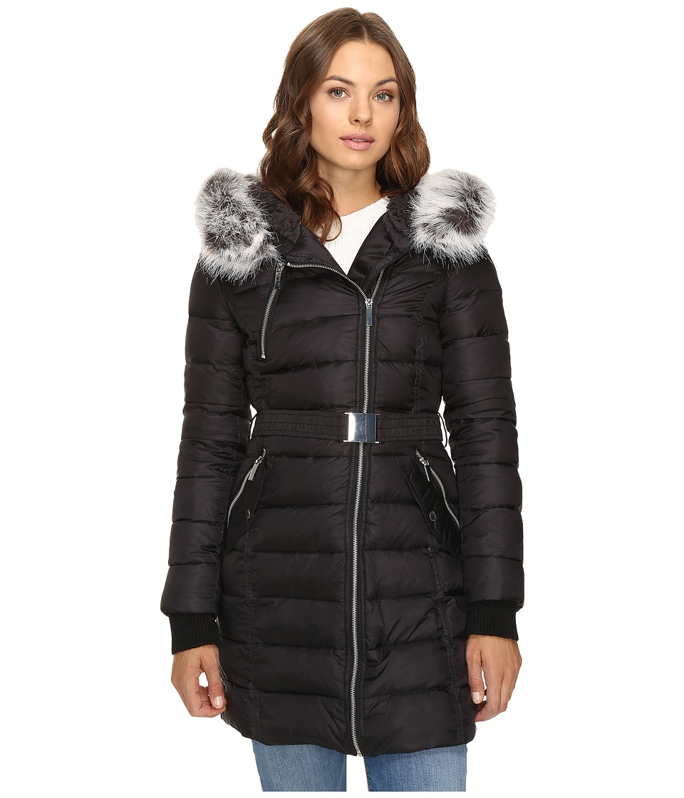 French Connection - Asymmetrical Moto Jacket with Sherpa (Black) Women's Coat