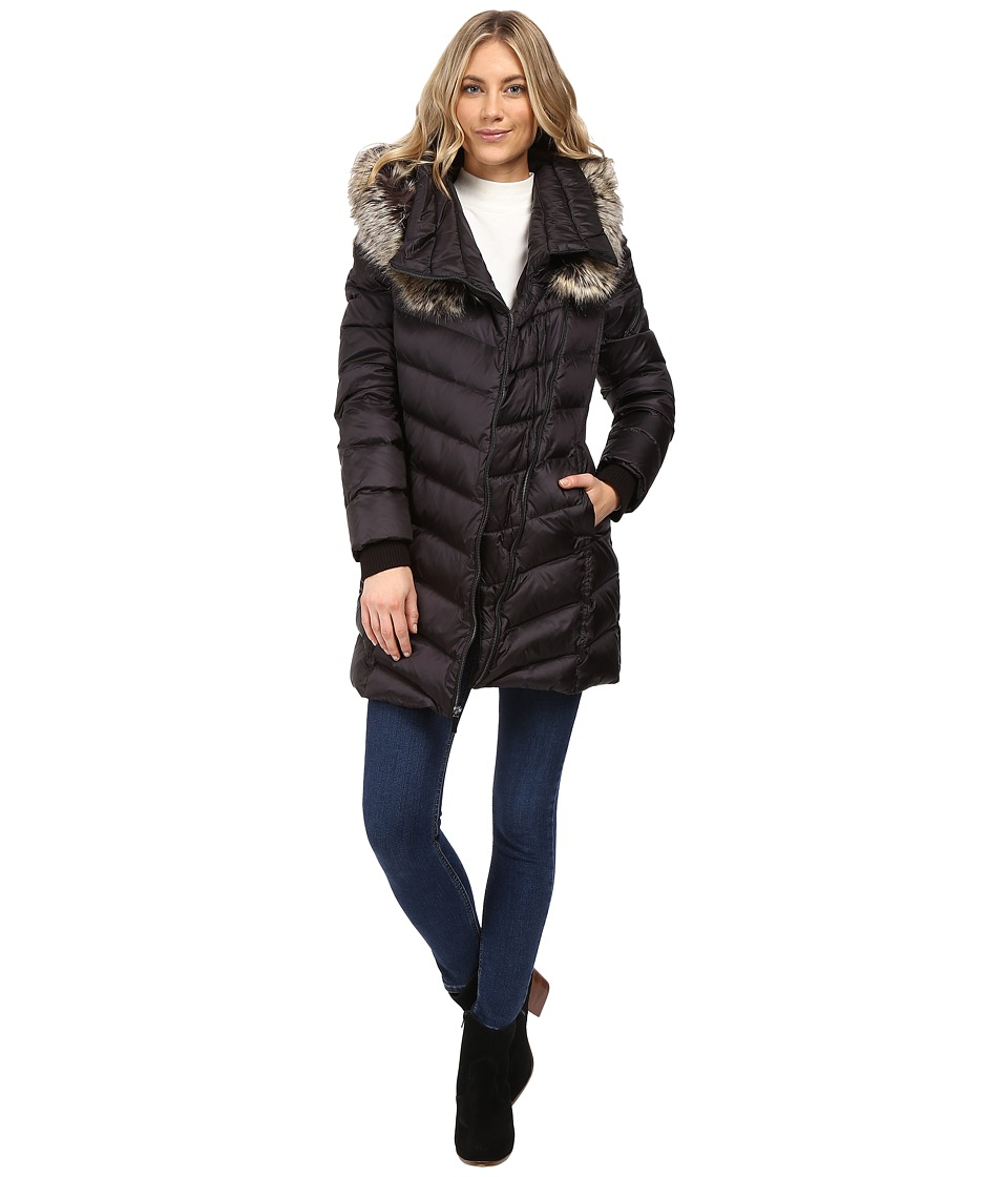 French Connection - Asymmetrical Moto Jacket with Faux Fur (Black) Women's Coat
