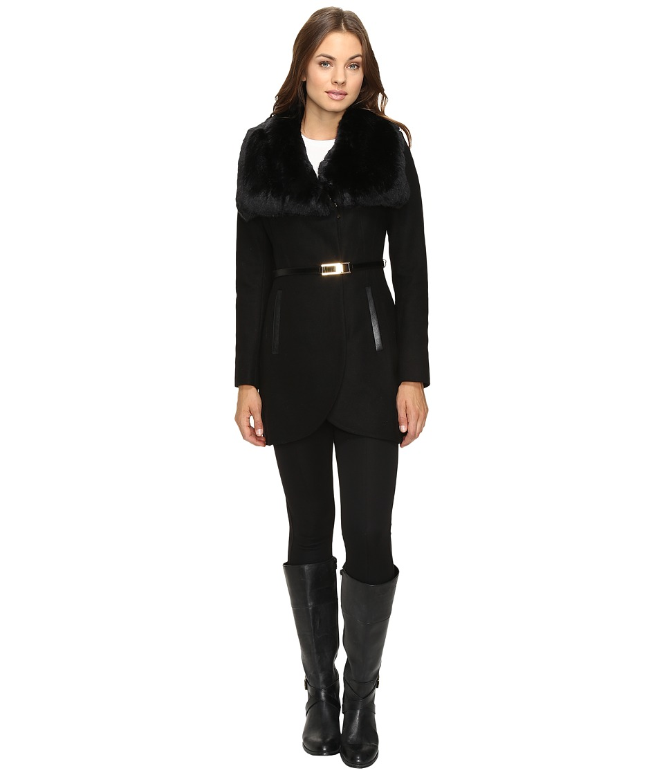 French Connection - Belted Fur Collar Coat (Black) Women's Coat