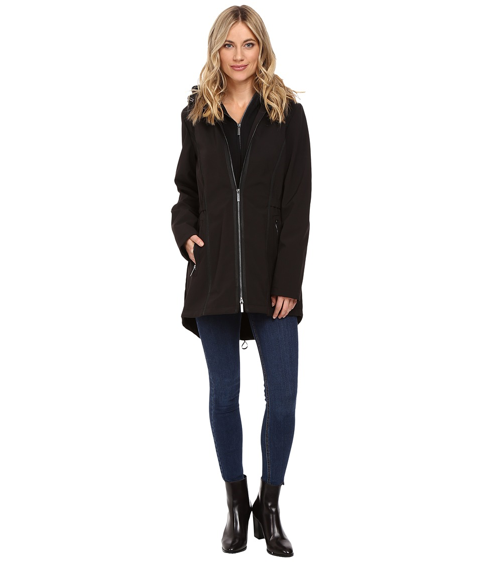 French Connection - Zip-Up Soft Shell Jacket (Black/Black) Women's Coat