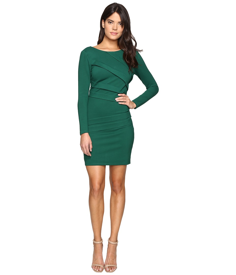 Adelyn Rae - Long Sleeve Fitted Dress (Green) Women's Dress