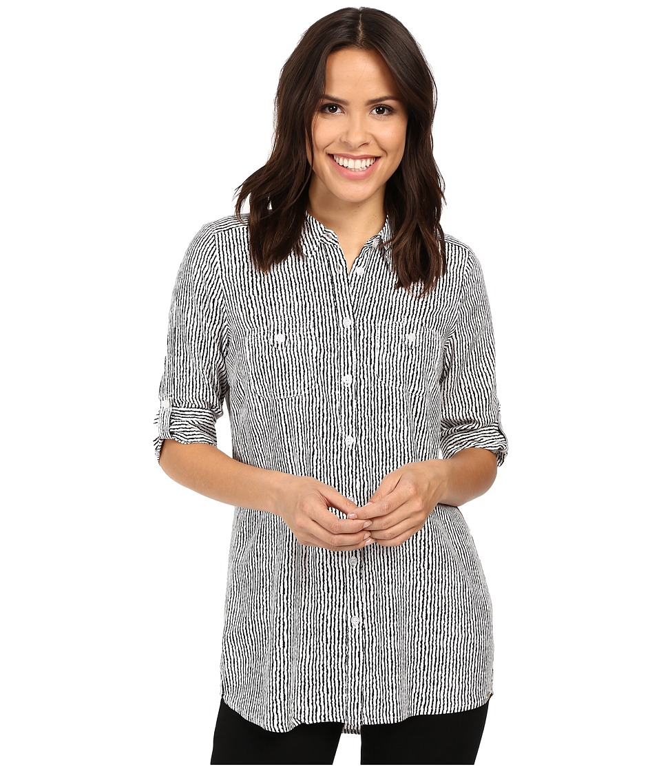 FDJ French Dressing Jeans - Paintly Stripe Tunic Blouse (Black/White) Women's Blouse